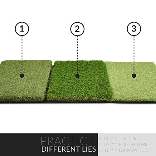 Rukket Tri-Turf Golf Hitting Mat Attack | Portable Driving, Chipping, Training Aids for Backyard with Adjustable Tees and Foam Practice Balls (XL (36' x 23.5'))