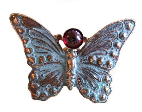 Elaine Coyne Verdigris Patina Butterfly Pin - Garnet