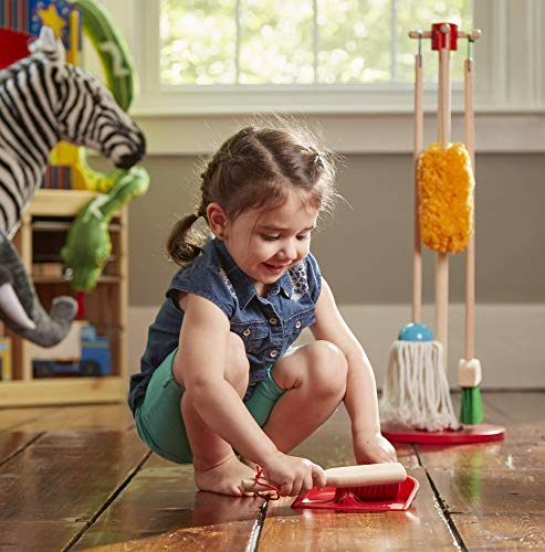 Melissa & Doug, Let's Play House! Dust! Sweep! Mop! Pretend Play Set (6-piece, Kid-Sized with Housekeeping Broom, Mop, Duster and Organizing Stand for Skill- and Confidence-Building) (Renewed)