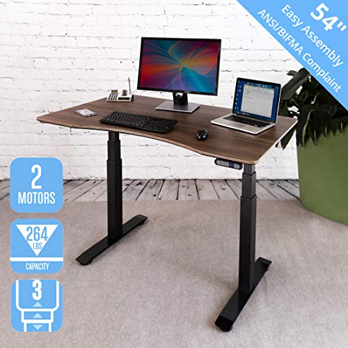"Seville Classics AIRLIFT Pro S3 54"" Solid-Top Commercial-Grade Electric Adjustable Standing Desk (51.4"" Max Height) Table, Black/Walnut"