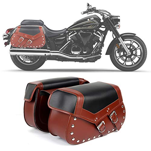 2PC Heavy-duty Waterproof Motorcycle Saddlebags 2-Strap - Extra-Large PU Synthetic Leather Insulated Throw-Over Saddlebag Tool Bag | Side Bag | Handlebar Bag w/Quick Release Buckles