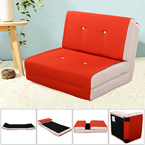 Fold Down Chair Flip Out Lounger Convertible Sleeper Bed Couch Game Dorm Orange by Tumsun (Image #1)
