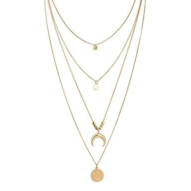 comprare popolare cdcf9 94028 Kakiyi Retro Donna Oro Layered collane Personalizzata Simple Girl di Stile  a Lunga Catena dei Bohemien Ciondolo Geometrica Girocollo Set
