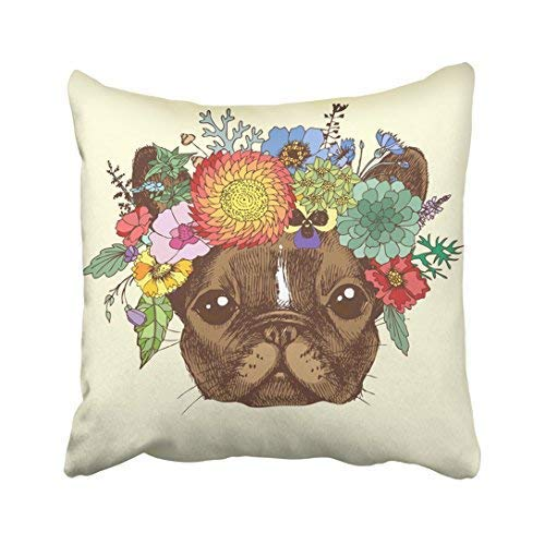 Drawing Portrait of French Bulldog with Wreath Flowers Dog in The Boho for Your Blog Throw Pillow Covers Decorative 18 x 18 Canvas -