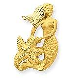 14k Satin Diamond-Cut Open-Backed Mermaid Pendant
