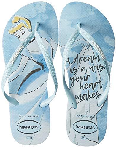 Havaianas Women's Slim PrincesasFlip Flop Sandal,Blue Acqua, 37/38 BR(7-8 M US Women's / 6-7 M US Men's)