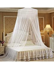 Mosquito Net for Double Bed White Lace Bed Canopy Round Dome Insect Stopping Netting Protection No Skin Irritation Natural Repellent for Indoor Outdoor Holiday Travel