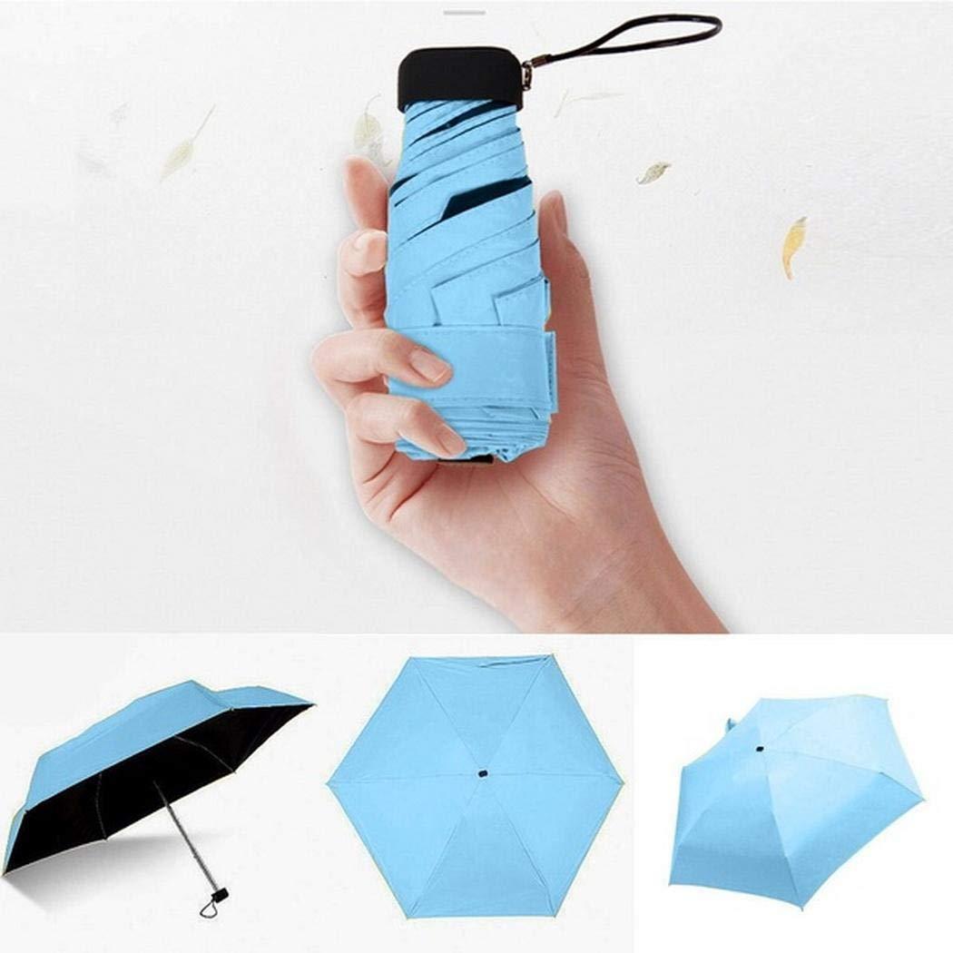 Cadiyo Ombrello Portatile a Cinque Pieghe Resistente alla Pioggia Parasole Colla Nera Ombrelli Pieghevoli Protezione UV