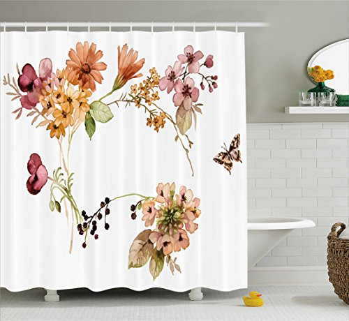 Rustic Home Decor Shower Curtain by Ambesonne, Flower Bouquet in Watercolors Gerbera Daffodil Poppy Daisy Composition, Fabric Bathroom Decor Set with Hooks, 70 Inches, Multicolor (Daisy Rustic)