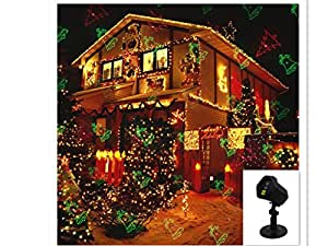 Kabeier outdoor lighting-RGB dynamic laser Christmas light garden lawn indoor projection lamp dynamic static 24 pattern RF remote control (002black two holes)