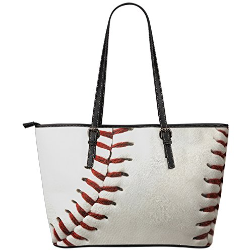Baseball Tote Bag for Sports Mom Large Leather Travel Handbag by Printed Kicks by Printed Kicks