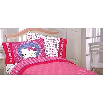 4 Pieces Caniche Sanrio Hello Kitty Parure De Lit Complete Amazon