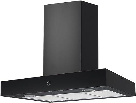 Potente de alta calidad campana extractora/T Forma de pared/Rhea 900 BK/cristal de acero inoxidable negro Diseño con Invisible Touch Control/ECO iluminación LED/90 cm/65 Db/Motor extra silencioso/Canalizado y recirculación Adecuado: Amazon.es: Bricolaje y