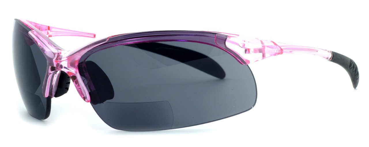 Calabria 48BF Lightweight & Comfortable Sport Bi-Focal Reading Sunglasses in Pink Frame w/ Grey Lens +2.50