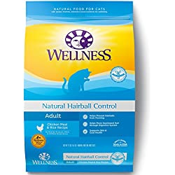 Wellness Complete Health Natural Dry Cat Food, Hairball Control Chicken Recipe, 12-Pound Bag