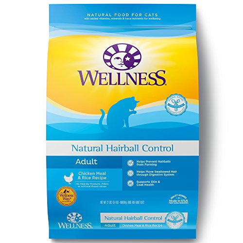 Wellness Hairball Control Natural Dry Cat Food, Chicken & Rice, 11.5-Pound Bag