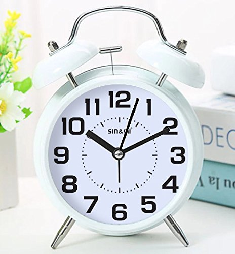 sinmi twin bell silent vintage classic kids bedroom alarm clock white
