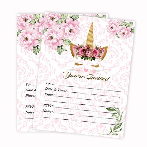 Cat Unicorn Girl Baby Shower or Birthday Invitations Pink Invites 20 Count and Envelopes