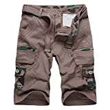 Blue sail shorts Men's Casual Pants Outdoor Cotton Wash Multi-Bag Male Tooling Shorts,Coffee,38