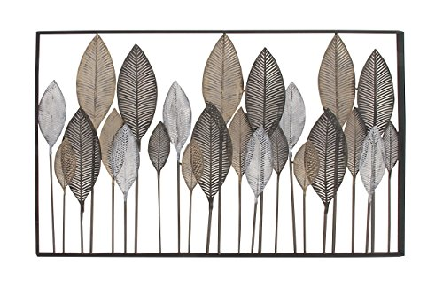 (Deco 79 65650 Large Textured Brown, White, Gray & Black Metal Leaf Wall Art,)