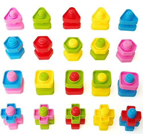 T-Juan MM 40pc Colorful Montessori toys Jumbo Nuts and Bolts Set for Toddlers Preschoolers - Occupational Therapy - Matching Fine Motor (Visual Motor Skill)