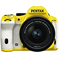 Pentax K-50 16MP Digital SLR Camera 3-Inch LCD with 18-55mm f/3.5-5.6 WR Lens (Yellow/White) [Electronics]