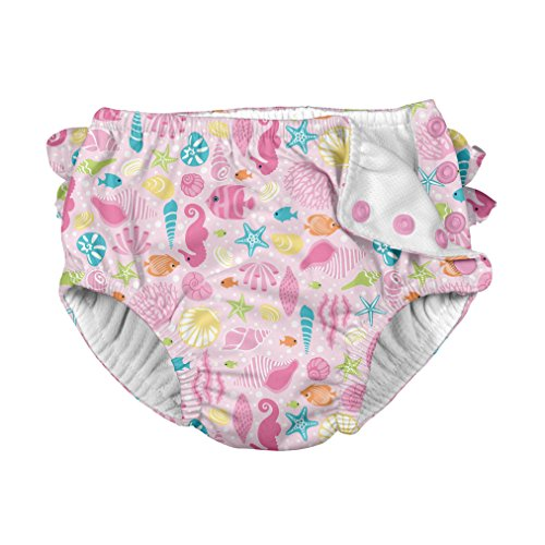 (i play. Toddler Girls' Ruffle Snap Reusable Absorbent Swimsuit Diaper, Pink Sealife, 4T)