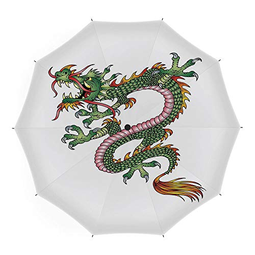 Travel Umbrella,Japanese Dragon,10 Ribs Finest Windproof Umbrella with Teflon Coating, Auto Open Close and Upgraded Comfort Handle 45 Inch,Dangerous Fantasy Monster Year of the Dragon Theme Symbolic A]()
