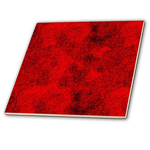 3dRose ct_66006_4 Red and Black Digital Squares-Ceramic Tile, 12-Inch
