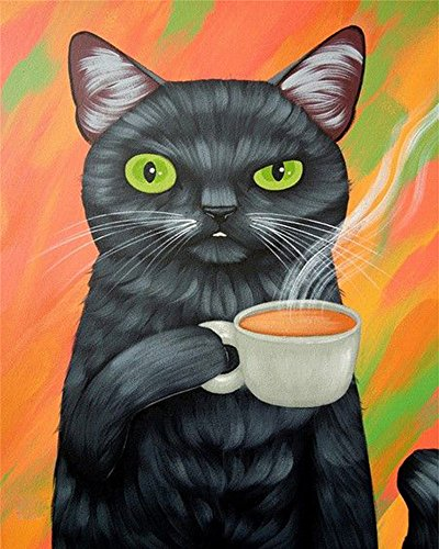 (DIY Oil Painting Paint by Number Kit for Kids Adults Beginner 16x20 inch -Cat Drinking Coffee,Drawing with Brushes Christmas Decor Decorations Gifts (Frame) )