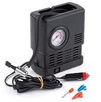 PrimeTrendz TM Portable 12 Volt Air Compressor with Pressure Gauge - Auto Repair Tire Tool Kit for Car, Truck, SUV, Bike, Caravan, Camping beds, Sporting Goods, Toys and more