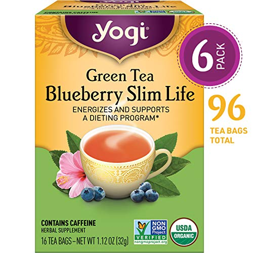 Yogi Tea - Green Tea Blueberry Slim Life - Energizes and Supports a Dieting Program - 6 Pack, 96 Tea Bags - Tea Blueberry Bags Leaf