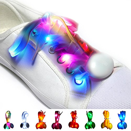 Maxstrapz Nylon LED Light Up,Glow in The Dark,Glowing Shoelaces in 8, White,Blue,Pink,Red,Orange,Yellow,Green and Multi Color,3 Flash Modes,for Parties,Running,Walking (Multi Color)]()