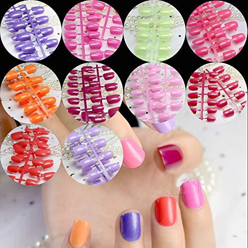240Pcs Macaron Color Fake Nails Red Pink Carnival Acrylic Press On Nails 10 Kits Nail Art Tips Wholesale 10 kits mix -