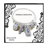 Eliana and Eli Sterling Silver Plated Strong is Beautiful Engraved Dumbbell Barbell Gym Buff Pendant Bracelet- Fitness Charm Bracelet Strong is Beautiful Bracelet with Kettlebell