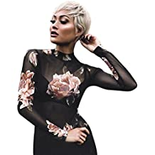 Tsmile Hot Sale{Womens Strapless Lingerie}❤️Clearance✿Ladies Mesh Sheer Tops Long Sleeve Transparent T-Shirt Floral Skinny Blouse
