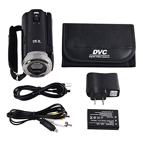"PowerLead Puto PLD003 Mini DV C8 16MP High Definition Digital Video Camcorder DVR 2.7"" TFT LCD 16x Zoom Hd Video Recorder Camera 1280 x 720p Digital Video Camcorder(Black)"