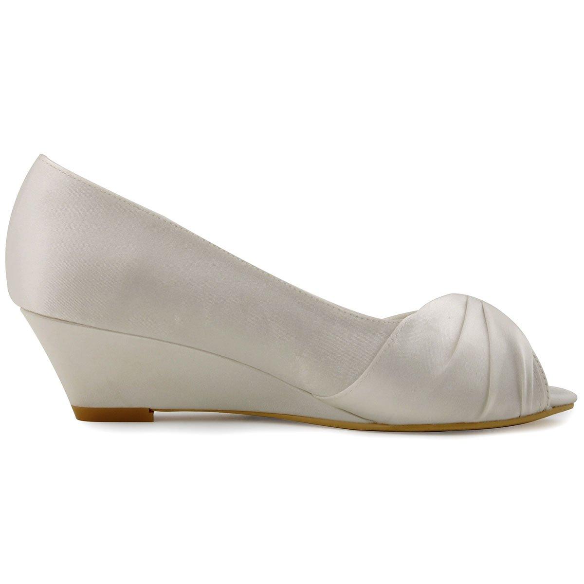 Elegantpark WP1403 Women Peep Toe Wedges Heel Rhinestones Satin Wedding  Bridal Shoes  Amazon.ca  Shoes   Handbags c56990b8b821