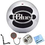 Blue Microphones Snowball USB Microphone - Aluminum (SNOWBALLALUMINUM) + Suspension Boom Scissor Arm Stand + Universal Pop Filter Microphone Wind Screen + Mic Stand Adapter + MicroFiber Cloth