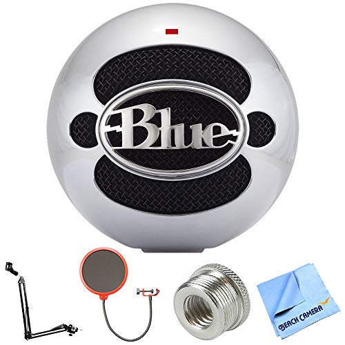 - Blue Microphones Snowball USB Microphone - Aluminum (SNOWBALLALUMINUM) + Suspension Boom Scissor Arm Stand + Universal Pop Filter Microphone Wind Screen + Mic Stand Adapter + MicroFiber Cloth