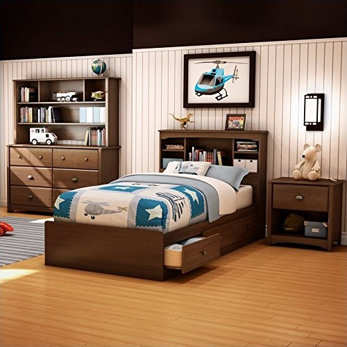 South Shore Nathan Kids Twin Mates Bed 3 Piece Bedroom Set in Sumptuous Cherry Finish by South Shore