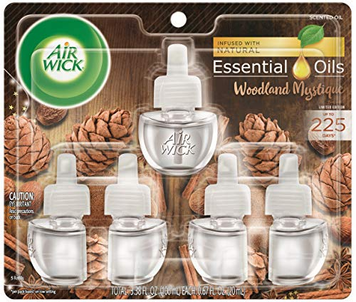Air Wick Plug in Scented Oil 5 Refills, Woodland Mystique, Holiday scent, Holiday spray, (5x0.67oz), Essential Oils, Air Freshener (Air Wick Plug In)