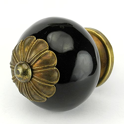 Romantic Decor C115FFM Retro Black Stoneware Onion Kitchen Cabinet Handles with Antique Bronze Hardware - 1-1/2
