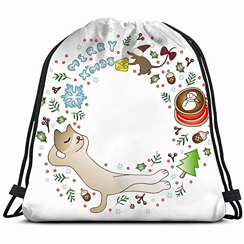 christmas door ornaments cat mouse joy the arts animal vintage Drawstring Backpack Gym Sack Lightweight Bag Water Resistant Gym Backpack for Women&Men for Sports,Travelling,Hiking,Camping,Shopping Yog