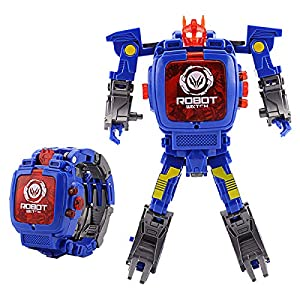 Gaoyuxuan Transformers toy robot watch, children's toy 2-in-1 Transformers watch, suitable for 3, 4, 5, 6-12 years old boy and girl toy watch robot, educational toy game watch, school toy gift. (Blue)