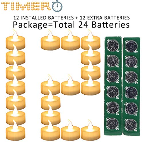 Micandle 12 Pack Warm White LED Timer Tea Lights with Extra 12 CR2032 Batteries for Wedding Party,6 Hours on and 18 Hours Off in 24 Hours Cycle,Flameless Timing Candles for Thanksgiving Christmas Day