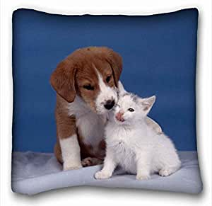 Custom Cotton & Polyester Soft Animal Custom Cotton & Polyester Soft Rectangle Pillow Case Cover 16x16 inches (One Side) suitable for Queen-bed