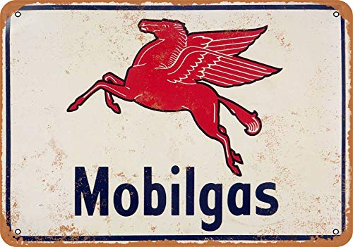Wall-Color 9 x 12 Metal Sign - Mobilgas Flying Pegasus Horse - Vintage Look