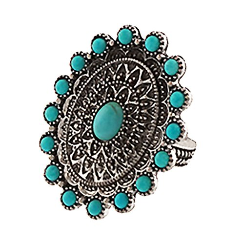 Rosemarie Collections Women's Southwest Jewelry Turquoise Statement Stretch Ring (Side Saddle Riding Costume)