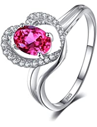 Heart Style Created Pink Sapphire 925 Sterling Silver Ring